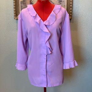 Haband lavender ruffle button down blouse sz XL.